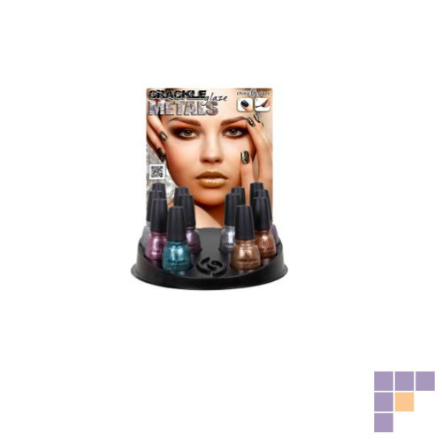 China Glaze Crackle Metals Collection 12 Piece Counter Display