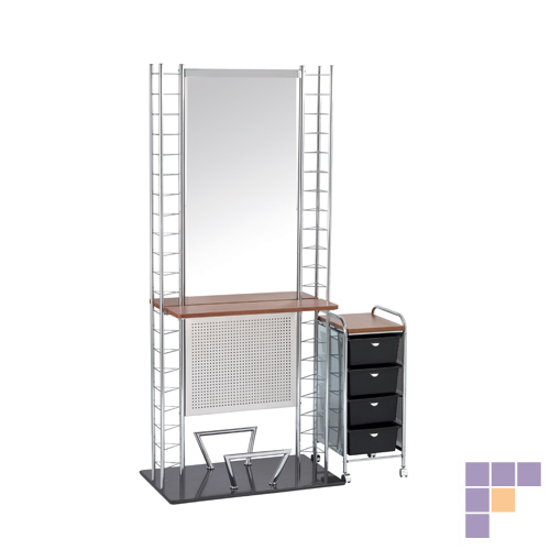 Pibbs d34 4 tier cart metal side panels salon furniture for Abc salon equipment