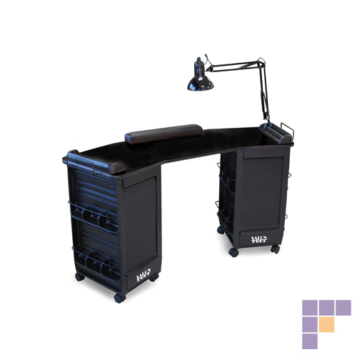 SalonTuff BDMT-B Boomerang Double Manicure Table – Black