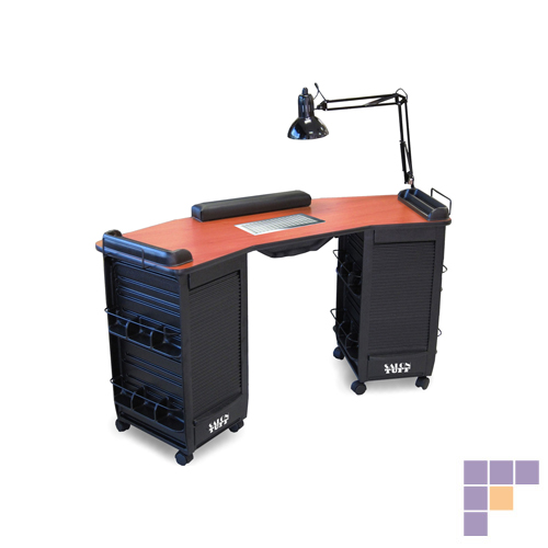 SalonTuff BVDMT-C Boomerang Vented Double Manicure Table - Cherr