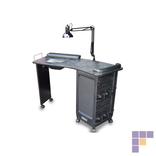 SalonTuff BVMT-BM Boomerang Vented Manicure Table - Black Marble