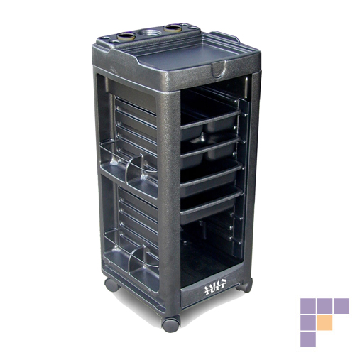 SalonTuff MC Maxi Cart with 4 Trays & Built-In Appliance Holder